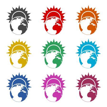 Sunrise sign - Planet Earth logo, Sunrise over Earth icon, color icons set