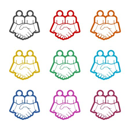 Partnership icon, Handshake, color icons set