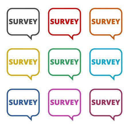 Survey sign, Survey traffic icon, color icons set