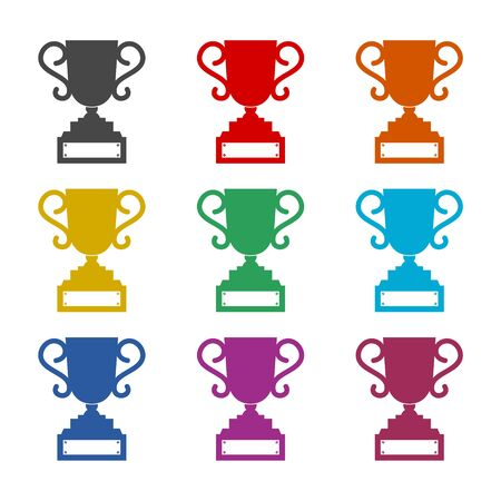 Trophy sign icon, Trophy cup, award color icons set Иллюстрация