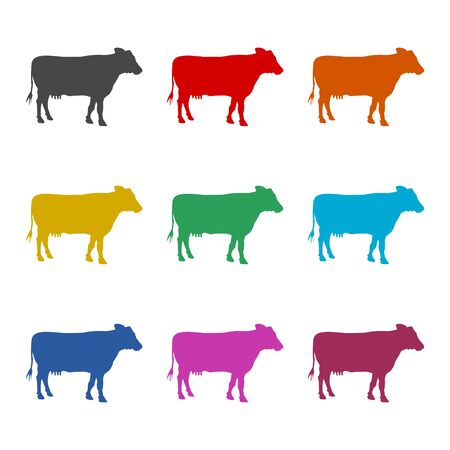 Cow silhouette icon, color icons set