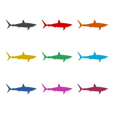 Shark sign, Shark line icon, color icons set Illustration