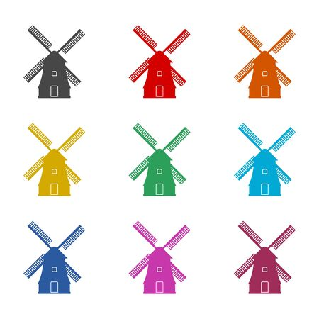 Windmill icon, Vector black silhouette, color icons set