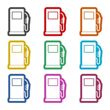 Gas pump icon, Gasoline and diesel fuel symbol, color icons set