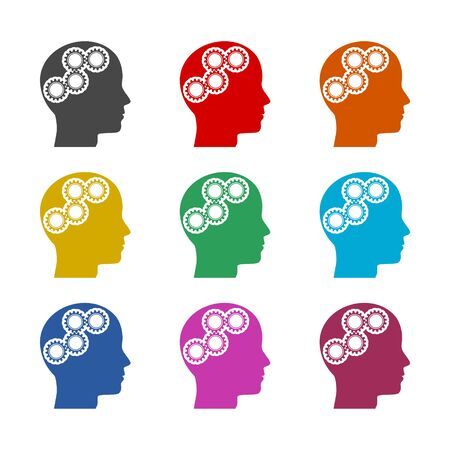 Human head with gears icon, Head with gears concept, color icons set