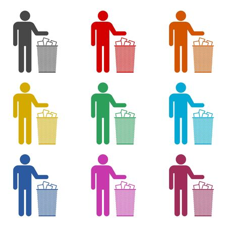 Human silhouette throwing garbage into a trash can icon, color icons set