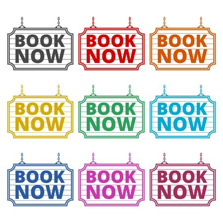 Book Now icon, Book Now sign, color icons set