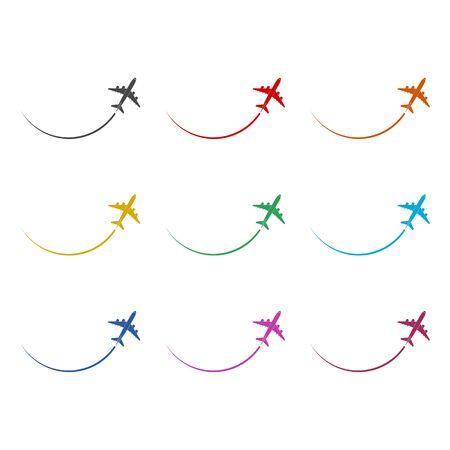 Plane sticker, Airplane icon , color icons set