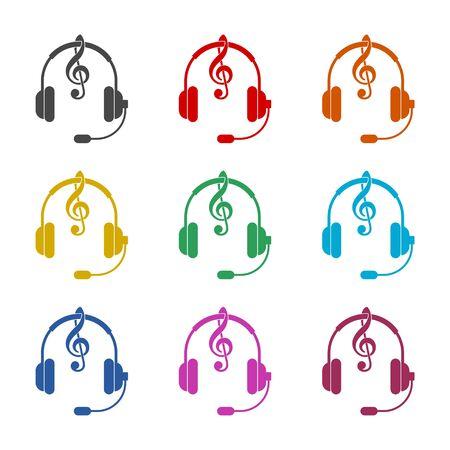 Headphones with treble clef icon, color icons set Ilustração