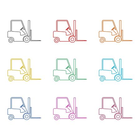 Forklift icon, Forklift truck side silhouette, color icons set