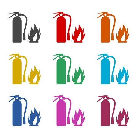 Fire sign vector, Fire extinguisher icon, color icons set