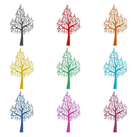 Tree Treble Clef icon, Musical key, color icons set
