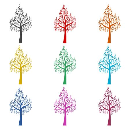 Tree Treble Clef icon, Musical key, color icons set