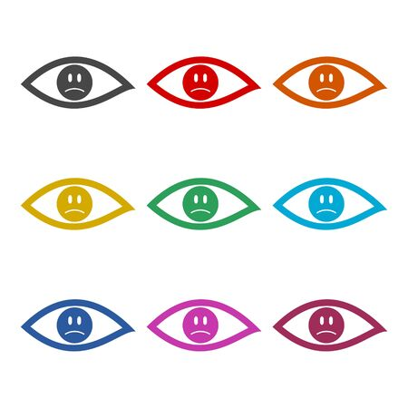 Eye sign sticker, Smile Icon, color icons set Иллюстрация