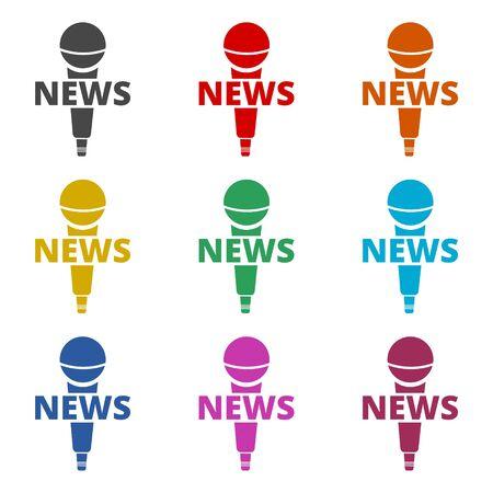 News microphone icon, color icons set Vecteurs