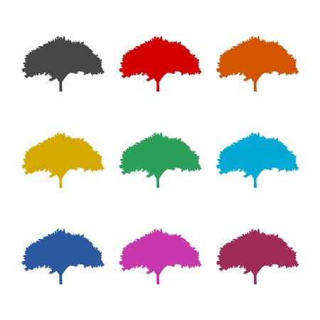 Tree silhouette icon, color icons set