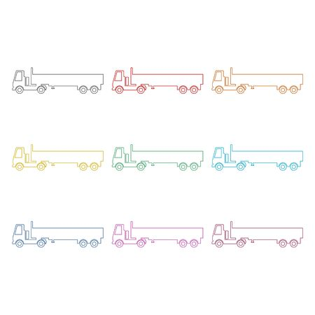 Truck icon, Truck silhouette, color icons set