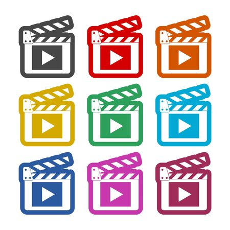 Movie icon, Film Flap sticker, color icons set Çizim