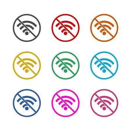 No internet, No Wi fi, color icons set