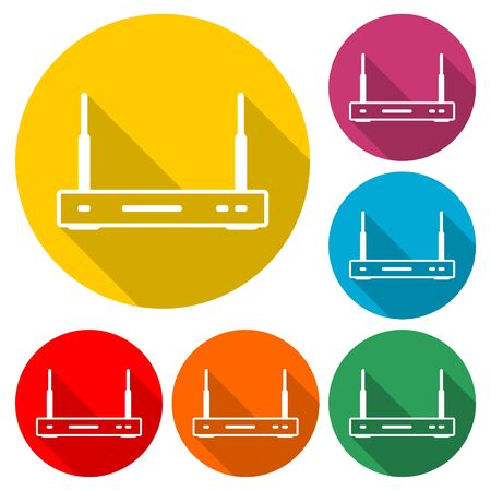 Wireless router icon, color icon with long shadow