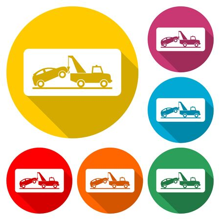 Tow truck with car on it, flat style illustration, Car tow service, color icon with long shadow Illustration