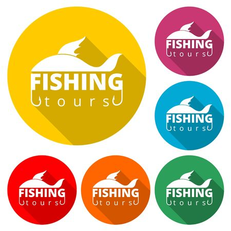 Fishing tours icon, color icon with long shadow  イラスト・ベクター素材