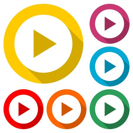Button Play Video icon, color icon with long shadow