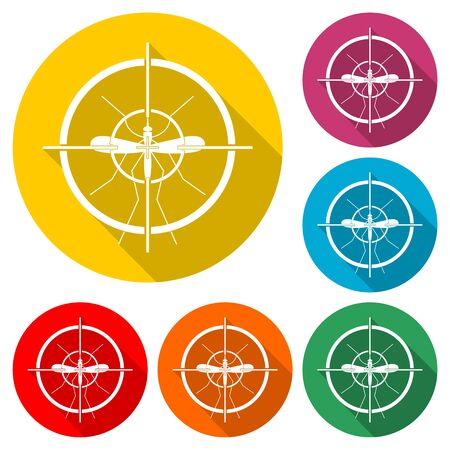 Mosquito target icon, Zika Virus sign icon, color icon with long shadow