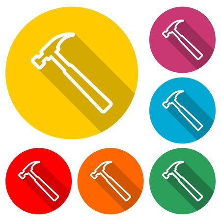 Hammer icon, House repair hammer flat icon, color icon with long shadow