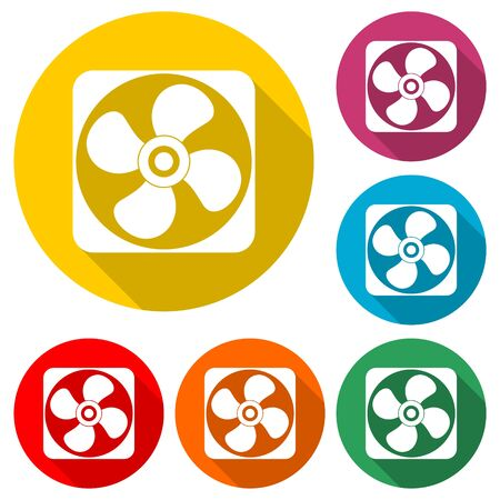 Vector fan icon, Air conditioning button, color icon with long shadow