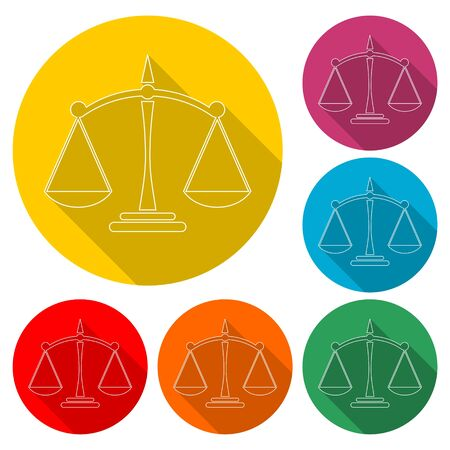 Scales of justice icon, color icon with long shadow Illusztráció