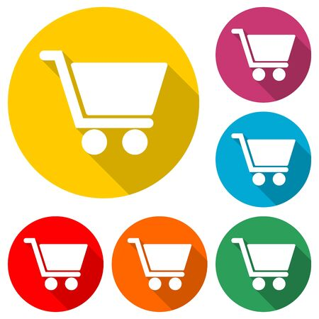 Shopping icon, Shopping cart icon, color icon with long shadow