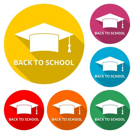 Graduation cap, Back To School icon, color icon with long shadow