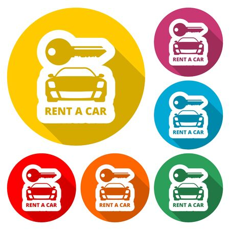 Car key, Car rental icon, color icon with long shadow