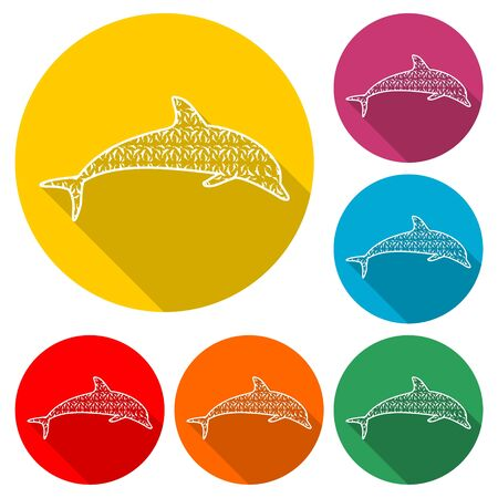 Dolphin fish animal silhouette icon, Silhouette dolphin, color icon with long shadow Illustration