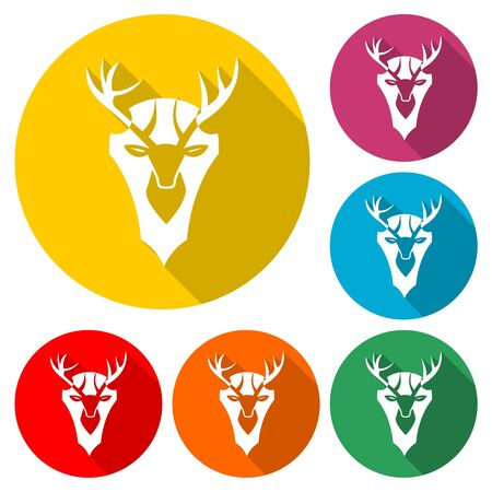 Deer head icon, color icon with long shadow