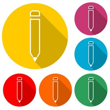 Pencil icon, color icon with long shadow