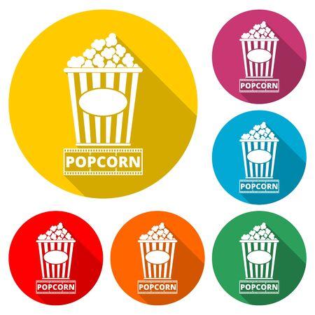 Popcorn icon, Cinema icon, color icon with long shadow Иллюстрация