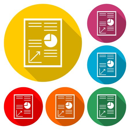 Business Report icon, business graph and documents, color icon with long shadow