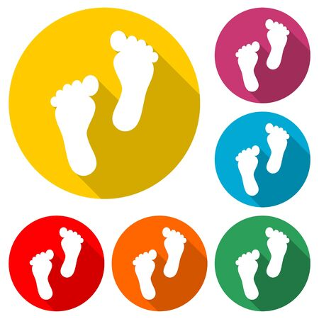 Two footprint icon, color icon with long shadow Illustration
