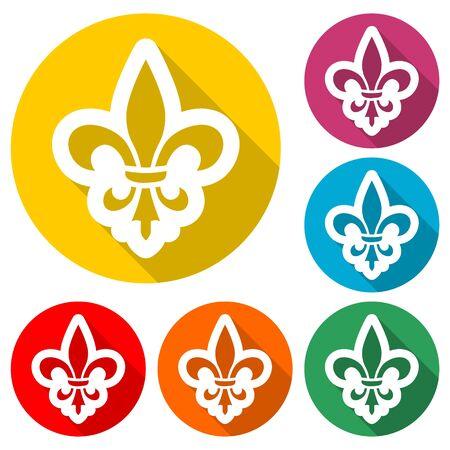 Fleur de lis icon, Fleur-de-lis sign, color icon with long shadow