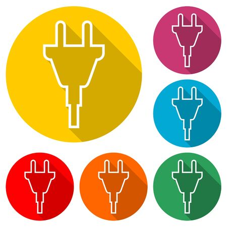 Electric plug sign icon, Power energy symbol, color icon with long shadow