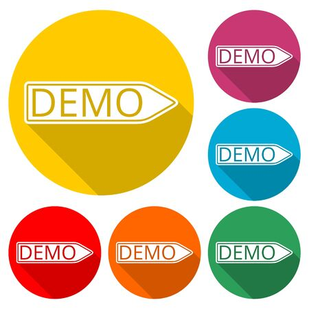 Demo sign, Demo icon, color icon with long shadow Illustration