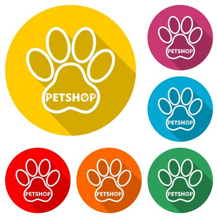 Pet shop icon, Veterinary Care, color icon with long shadow Çizim