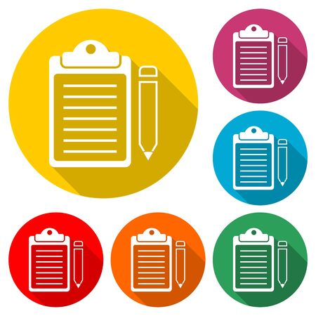 Clipboard and pencil icon, color icon with long shadow