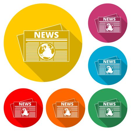 Newspaper icon, News icon, color icon with long shadow Illustration