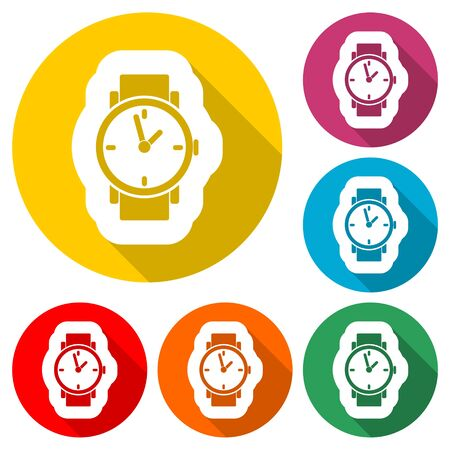 Watch icon, color icon with long shadow