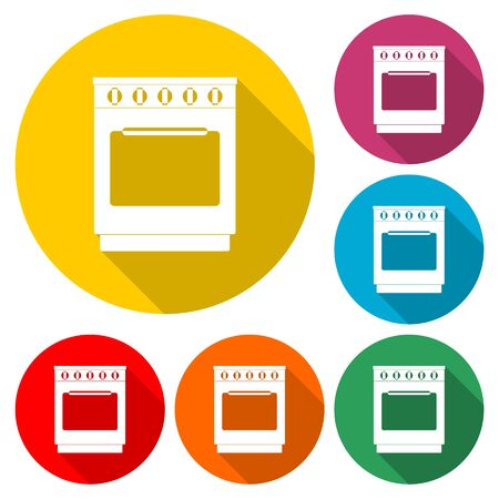 Oven icon, Stove Icon, color icon with long shadow