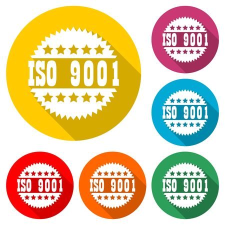 ISO 9001 certified sign icon, color icon with long shadow Ilustração