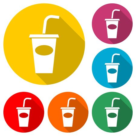 Soda icon, Drink icon, Disposable Cup, color icon with long shadow